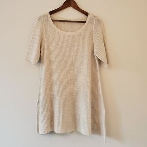 Eileen Fisher open knit ivory sweater XL